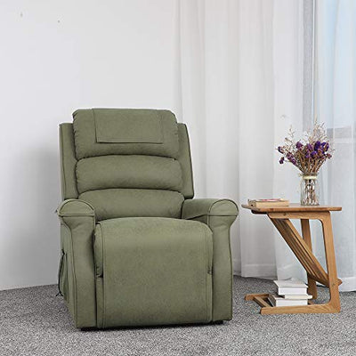 Electric Power Lift Recliner Chair Classic Comfortable Fabric Lounge for Elderly Ultimate Comfort Living Room Cozy Seating (Sage)