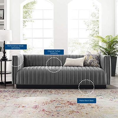 Modway Conjure Channel Tufted Upholstered Performance Velvet Sofa in Gray