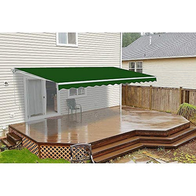 UKN Motorized Retractable Outdoor Home Patio Awning 13'x10' Green Traditional Rectangular Polyester Uv Protected