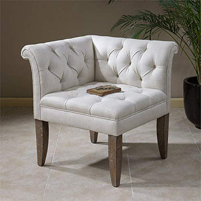 Uttermost Tahtesa Tufting Corner Chair in Ivory