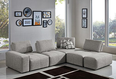 Limari Home The Hewe Collection Modern 6 Piece Polyester Fabric Upholstered Sectional Sofa for the Living Room, Gray