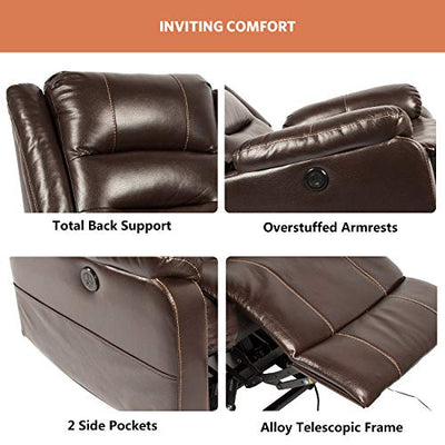 oneinmil Power Lift Recliner Chair - Massage Chairs Full Body and Recliner Heated Leather Recliner w/Button & Remote Control USB Charging Ports Lift Chairs for Elderly (Brown)