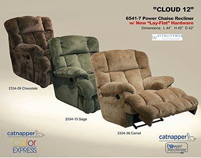 Catnapper Cloud 12 6541-7 Power Lay Flat Chaise Recliner Chair - Sage Fabric