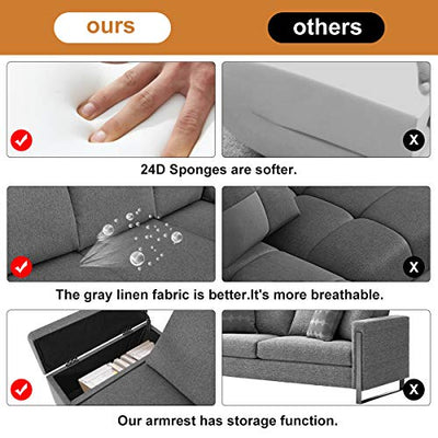 Esright Convertible Sectional Sofa Couch with Ottoman, Sofa Armrest with Storage Function, L-Shaped Sofa with Gray Linen Fabric, for Living Room or Apartment (Right)