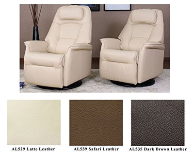 Fjords Stockholm Large Power Recline Swivel Swing Relaxer Recliner Chair in AL539 Safari Astro Line Premium Leather