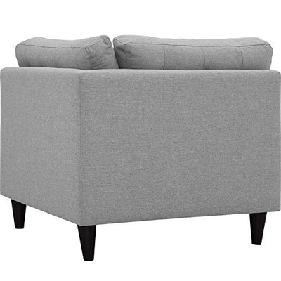 Modway Empress Mid-Century Modern Upholstered Fabric Corner Sofa In Light Gray