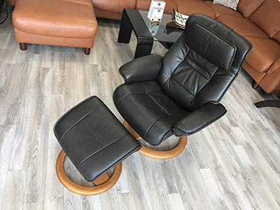 Fjords Mustang Small Ergonomic Recliner Chair with Ottoman in Stone NL 130 Nordic Line Leather with a Nature Wood Stain Base
