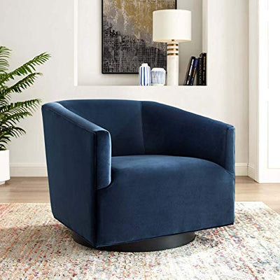 Modway Twist Performance Velvet Accent Lounge Living Room Swivel Chair in Midnight Blue