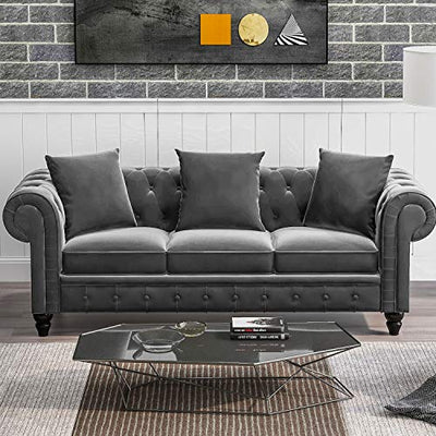 Merax 3 Seat Sofa Velvet Sectional Sofa Sofa Couch for Living Room Classic Chesterfield Sofa Set with 3 Pillows