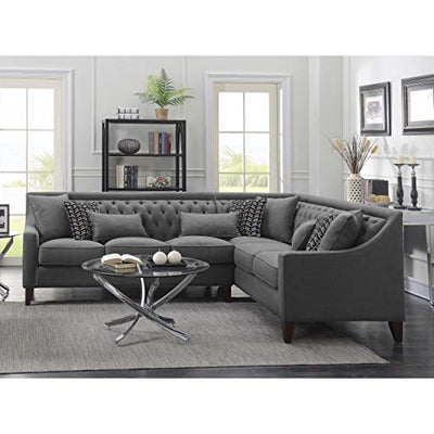 Chic Home Fulla Linen Tufted Back Rest Modern Contemporary Right Facing Sectional Sofa Blue