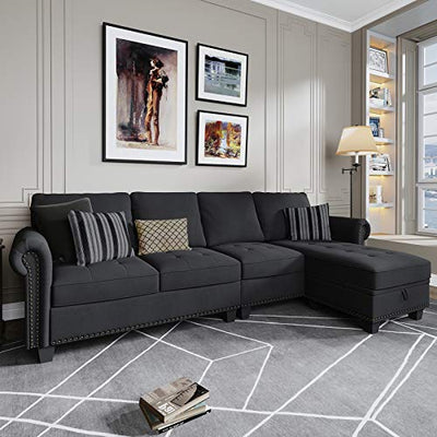 Nolany Convertible Sectional Sofa for Apartment L Shape Couch with Reversible Chaise, 4 Seater Sectional Couch with Tufted Linen and Storage Ottoman, Dark Grey