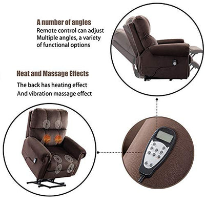 Electric Power Recliner Lift Chair Electric Recliner for Elderly, Heated Vibration Massage Sofa with Side Pockets, Heavy Recliner, with Modern Padded arms and Back, Chocolate Color
