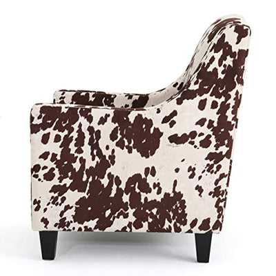 Christopher Knight Home Elysabeth Studded Velvet Club Chair, Milk Cow / Dark Brown