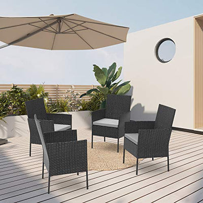 Handman 4 Piece Outdoor Chairs Patio Wicker Rattan Chair with Cushions Patio Dinning Chair for Garden, Balcony, Porch