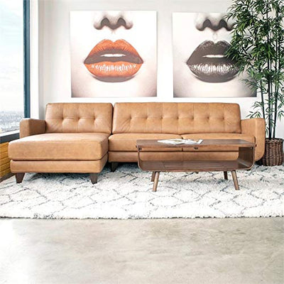 ASHCROFT Mid-Century Modern Davis Tan Genuine Leather Sectional Sofa (Left Chaise)