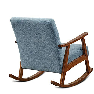 GEQWE Rocking Chair Comfortable Relax Rocking Chair Lounge Chair with Cotton Fabric Cushion Casual Lazy Chair Easy to Assemble (Color : Blue, Size : M)
