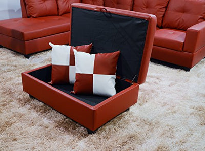 Beverly Fine Furniture Lorenzo Sectional Left Chaise Sofa with Ottoman, Red