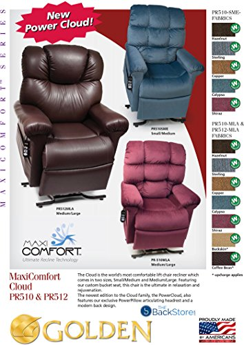 MaxiComfort Series Golden Technologies Power Cloud PR512 MLA Dual Motor Lift Chair Zero Gravity Recliner with Power Articulating Headrest - Coffee Bean Leather - In-Home Delivery and Setup