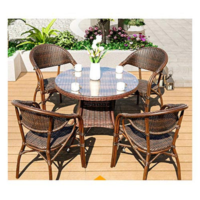 BUYT Villa Garden Furniture Sets Patio Furniture Conservatory Furniture Table Sets Patio Rattan Dining Table Set Wicker Weave for Outdoor Garden Poolside (4 Piece Set Table Chair)