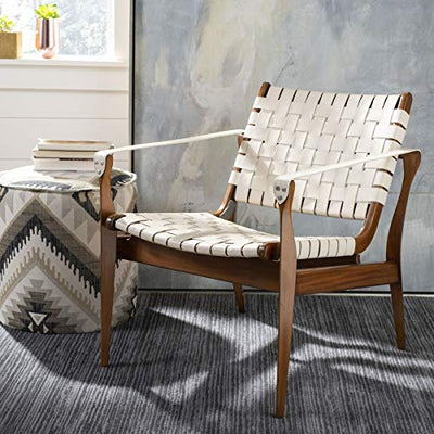 Safavieh Couture Collection Dilan White and Light Brown Leather Safari Chair
