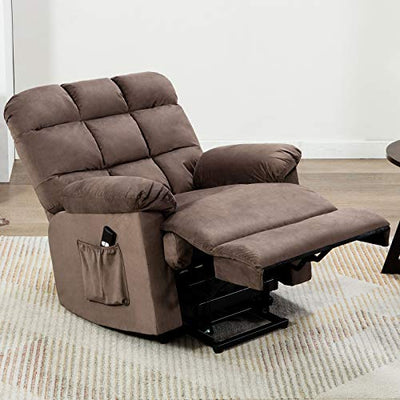 ANJ Power Lift Recliner Chair Safety Motion Reclining Chair for Elderly - Heavy Duty Fabric Overstuffed Sofa for Living Room with Side Pocket (Chocolate)