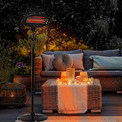 Garden Patio Heater,Outdoor Electric Heater,Carbon Alloy Quartz Tube,3 Gears Adjustment,Adjustable Height and Angle,2KW.