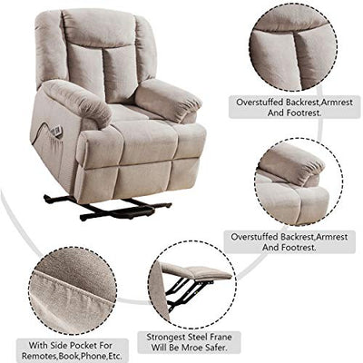 Power Lift Recliner with Heated Vibration & Remote Control, Side Pockets Equipped, Kerrogee Linen Fabric Massage Sofa with Thick Padded Headrest (Light Brown)