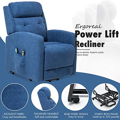 ERGOREAL Power Lift Recliner for Elderly Electric Lift Chairs with Heat and Massage Fabric Lift Chair USB Port and Side Pocket (Blue)
