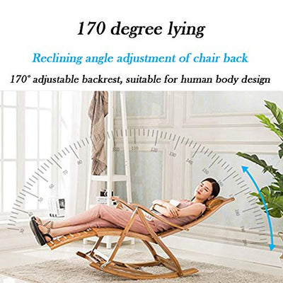 Portable Folding Sun Lounger,Folding Zero Gravity Chairs,0-170° Lying Flat, Thick Bamboo, Durable, Load-Bearing (140kg (308IB) Widened armrest, with Foot Massage, Foldable,J