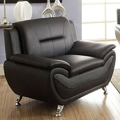 Fast Furnishings Stylish Living Room Modern Black Faux Leather Arm Chair Medium Firm