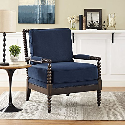 "Modway Revel Spindle Frame Wood Armchair with Plush Velvet Upholstered Fabric, 37"", Navy"