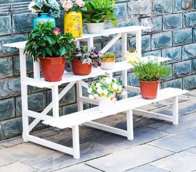 LSNLNN Flower Stands,Rack Plant Stand Shelf Solid Wood Flower Pot Holder for Outdoor Indoor Garden Living Room Balcony Bedroom,#1