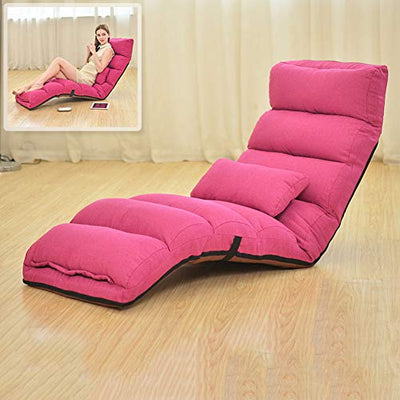 JiaQi Folding Floor Chair,Adjustable Lazy Folding Sofa,Upholstered Back Support with armrests and a Pillow for Tv Watching or Gaming-Rose Red A