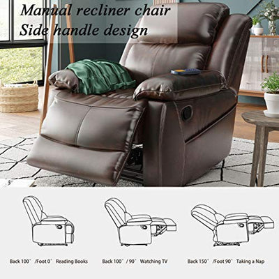 Moobo Heated Massage Recliner Chair - Overstuffed Comfortable PU Leather Recliner Sofa - Breathable Heavy Duty Home Theater Seating - Reclining Sofa for Bedroom Living Room(Brown)