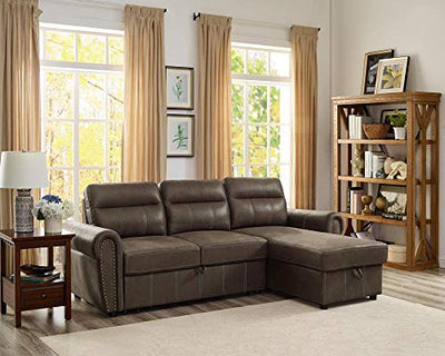 Lilola Home LILOLA Ashton Microfiber Reversible Sleeper Sectional Sofa Saddle Brown