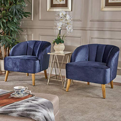 Christopher Knight Home Amaia Modern Velvet Club Chairs, 2-Pcs Set, Cobalt / Walnut