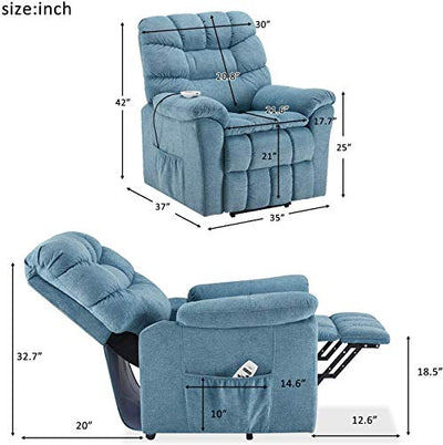 Power Lift Recliner with Massage & Heated Vibration Electric Recliner Chair Massage Sofa Microfiber Fabric Living Room Chair with Side Pockets, USB Charge Port & Remote Control