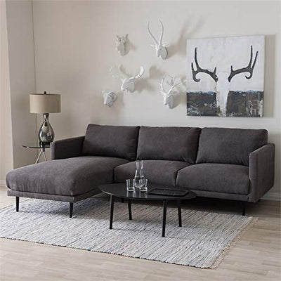 Baxton Studio Riley Retro Mid-Century Modern Grey Fabric Upholstered Left Facing Chaise Sectional Sofa