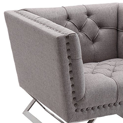 Armen Living Odyssey Chair in Grey Tweed and Brushed Stainless Steel Finish