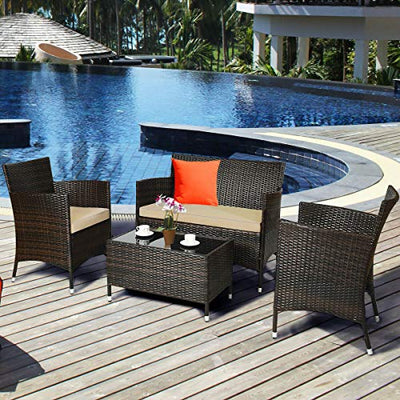 4 Pieces Rattan Patio Furniture Set Cushioned Sofa Chair Coffee Table for Garden