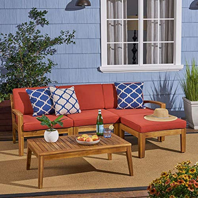 Grenada Sectional Sofa Set | 5-Piece 3-Seater | Includes Coffee Table and Ottoman | Acacia Wood Frame | Water-Resistant Cushions | Teak and Red