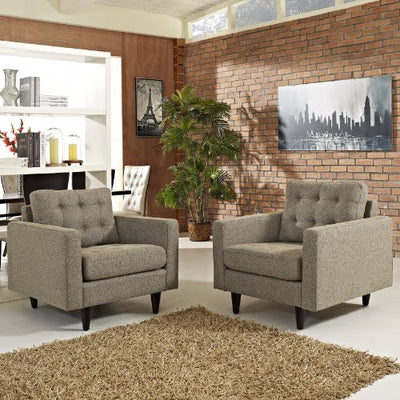 Modway Empress Mid-Century Modern Upholstered Fabric Two Armchair Set in Oatmeal