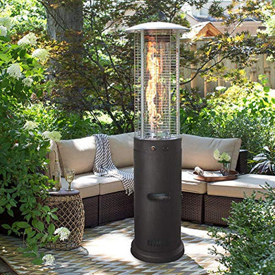 YL-light Patio Heaters Propane Stainless Steel with Wheels-Mainstays Large Patio Heater, 15KW Gas Propane Heater, Fast Heating Standing Terrace Heater for Garden, Commercial/Home,Black