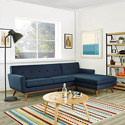 Modern Contemporary Urban Design Living Lounge Room Right-Facing Sectional Sofa, Navy Blue, Fabric