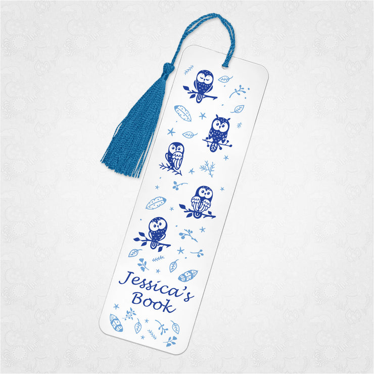 Personalised Cute Owls Bookmark - three colours