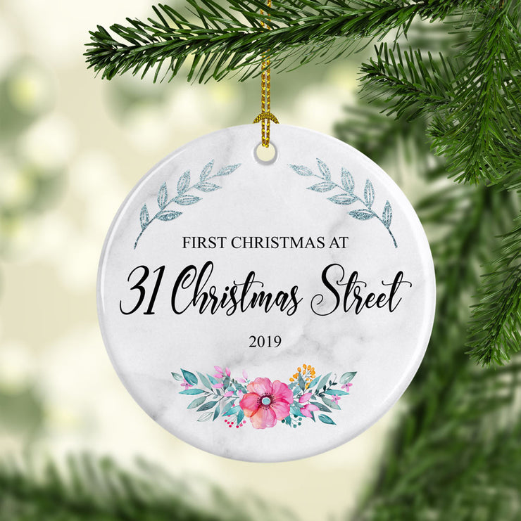 Personalised Christmas Decoration - Ceramic - Floral Design