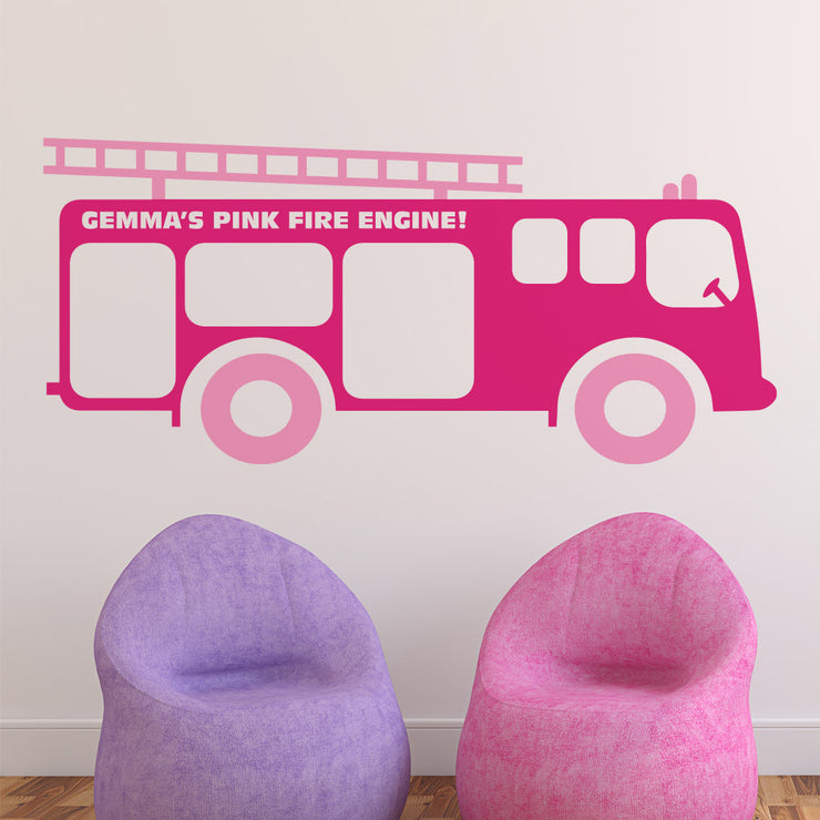 Fire Engine Truck Boys Wall Art Sticker Personalised