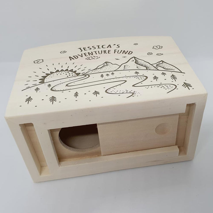 Personalised Wooden Money Box Adventure Holiday Fund
