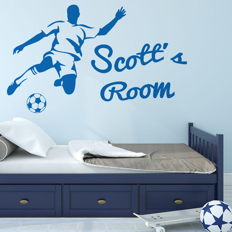 Football Striker Personalised Wall Art Sticker