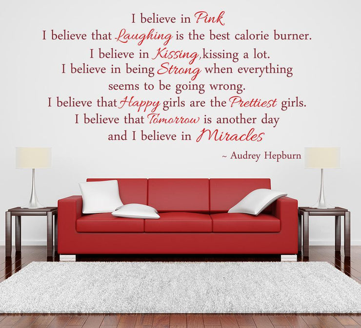 Audrey Hepburn Wall Sticker I Believe Quote